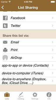 List Sharing via AirDrop, Email, Dropbox, Box, iCloud Drive, Contact and print-out
